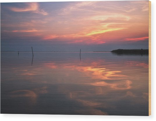 Sunset Whalehead Club Wood Print
