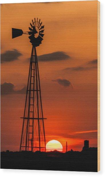 Sunset Windmill Wood Print