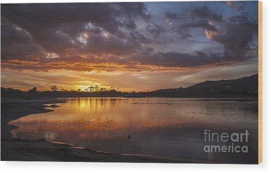 Sunset With Clouds Over Malibu Beach Lagoon Estuary Wood Print