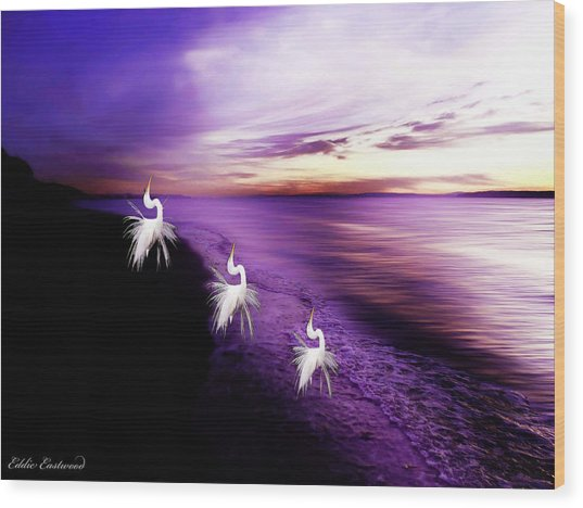 Sunset Worshippers Wood Print