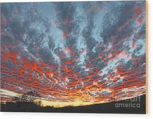 Sunset Colorado Country Style Wood Print