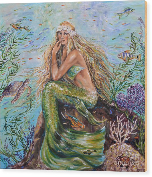Sunshine Mermaid Square Wood Print