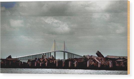Sunshine Skyway Bridge Wood Print