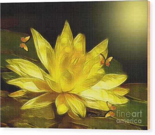 Sunshine Yellow Water Lily Wood Print