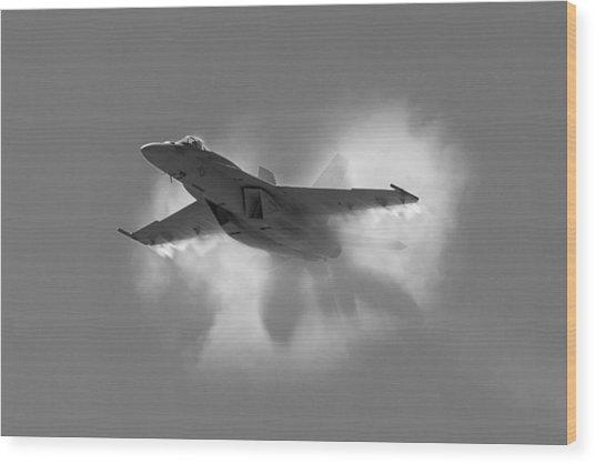 Super Hornet Shockwave Bw Wood Print