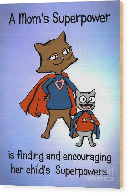 Super Mom And Son Wood Print