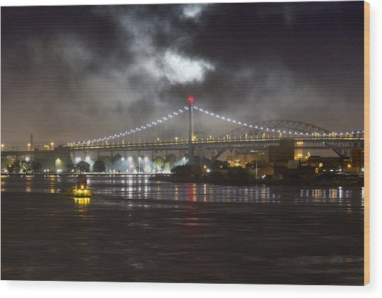 Super Moon And Triboro Bridge Wood Print