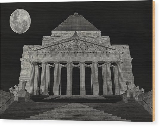 Super Moon Behind Shrine Of Remembrance  Wood Print