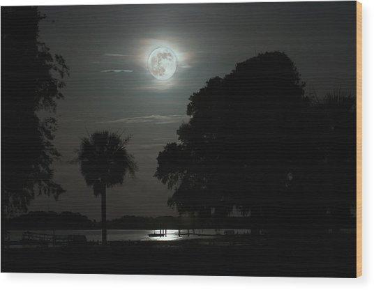 Super Moon Over Wimbee Creek Wood Print