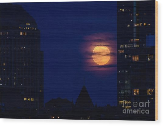 Super Moon Rises Wood Print by Mike Ste Marie