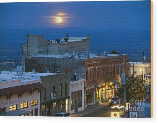 Super Moonrise Over Jerome Arizona Wood Print