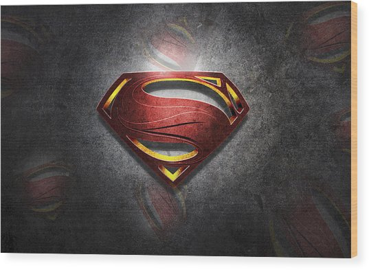 Superman Man Of Steel Digital Artwork Wood Print