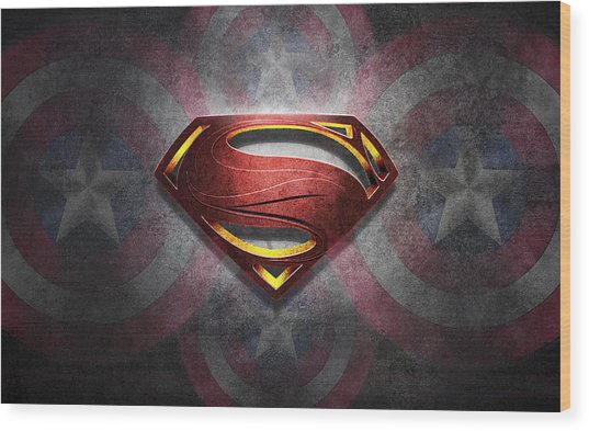 Superman Symbol Digital Artwork Wood Print