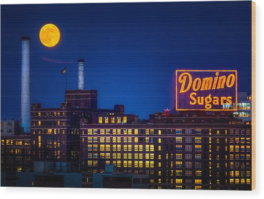 Supermoon Over Baltimore Wood Print
