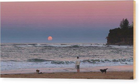 Supermoonrise Wood Print