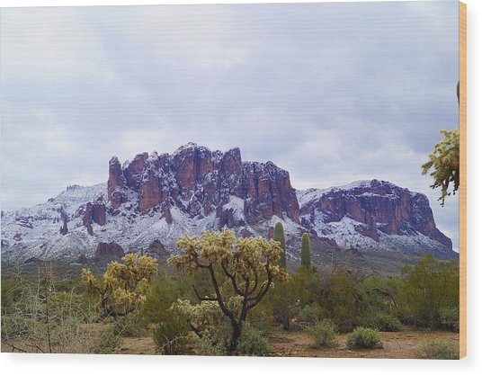 Superstition Mountain Snow Wood Print
