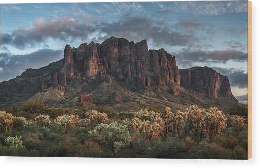 Superstitions Mountains Sunset Wood Print
