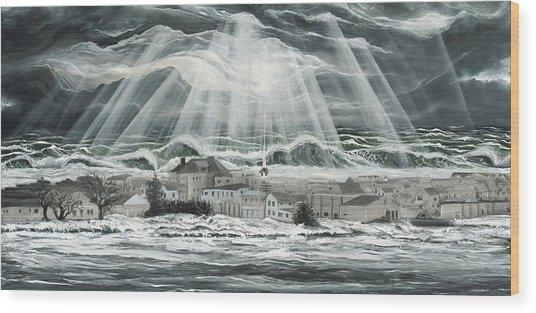 Superstorm Sandy Sea Bright Nj Wood Print by Ronnie Jackson