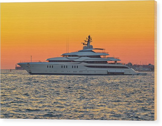 Superyacht On Yellow Sunset View Wood Print