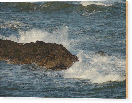 Surf And Rocks Wood Print