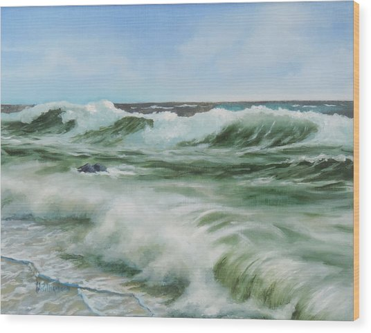 Surf At Castlerock Wood Print
