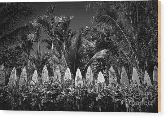 Surf Board Fence Maui Hawaii Black And White Wood Print