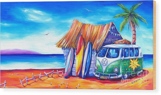 Surf Club Wood Print