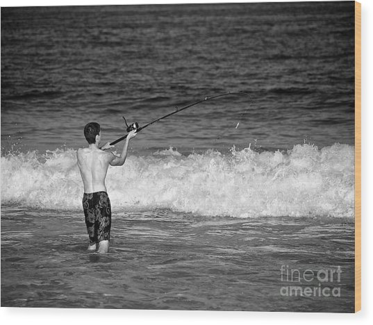 Surf Fishing Wood Print