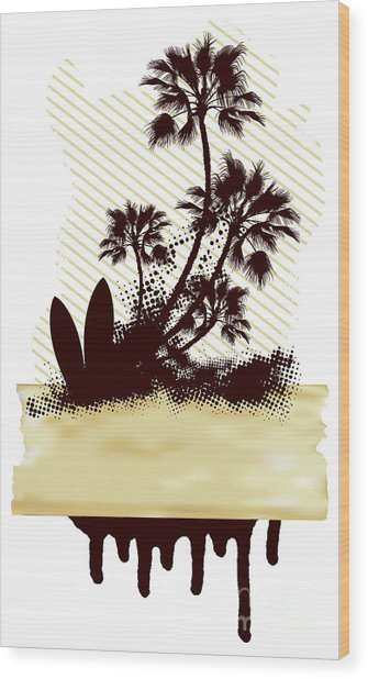 Surf Grunge Dirty Scene With Palms And Wood Print