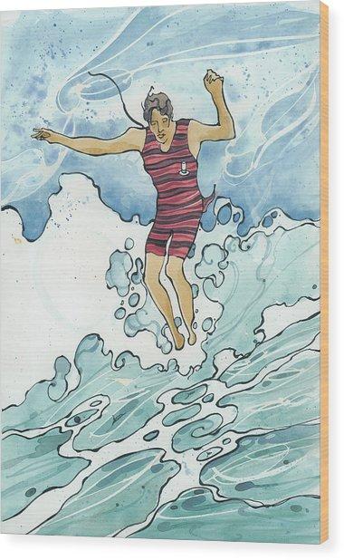 Surf Leap Wood Print