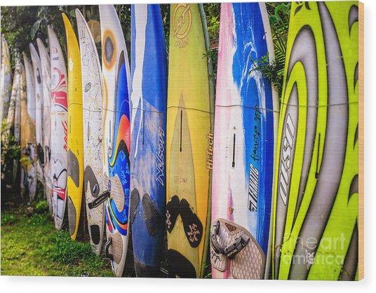 Surfboard Fence Maui Hawaii Wood Print