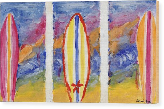 Surfboards 1 Wood Print