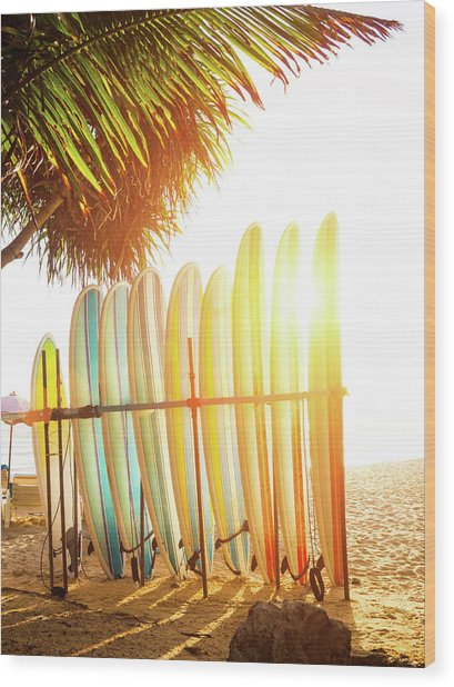 Surfboards At Ocean Beach Wood Print by Arand