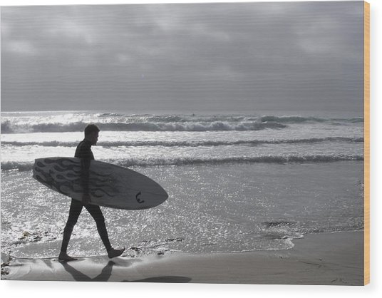 Surfer At Dusk Wood Print