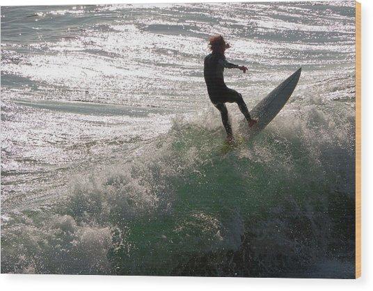 Surfer At Laguna Beach Wood Print