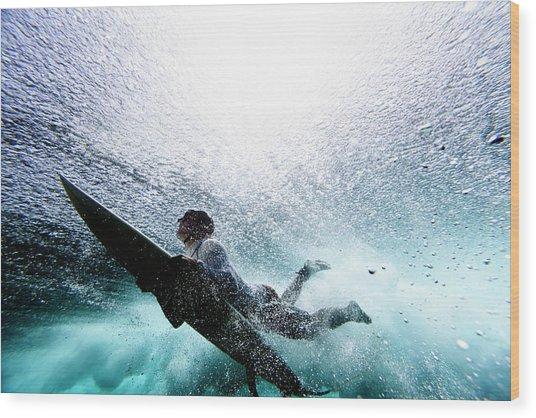 Surfer Duck Diving Wood Print