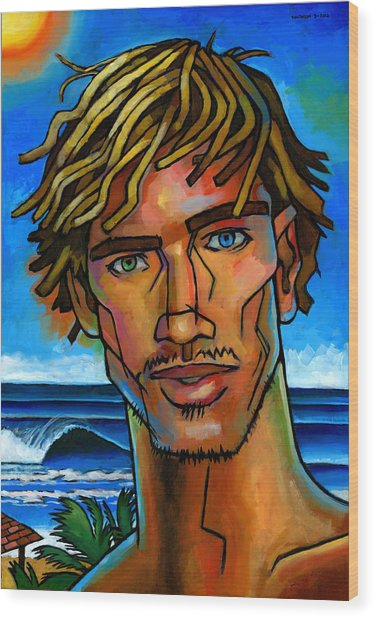 Surfer Dude Wood Print