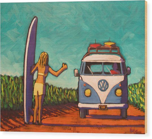 Surfer Girl And Vw Bus Wood Print