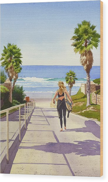 Surfer Girl At Fletcher Cove Wood Print