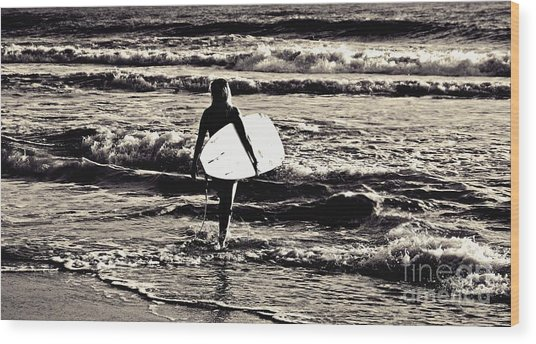 Surfer Girl Wood Print by Scott Allison