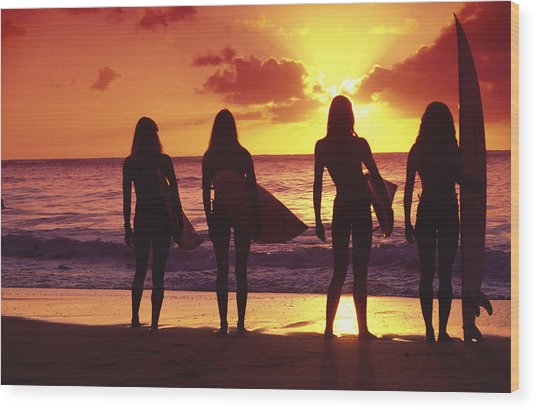 Surfer Girl Silhouettes Wood Print