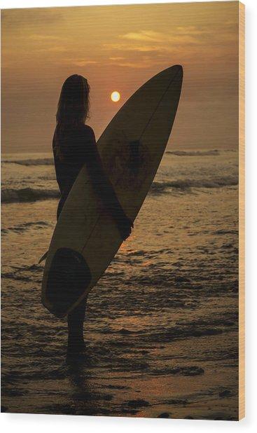 Surfer Girl Sunset Silhouette Wood Print