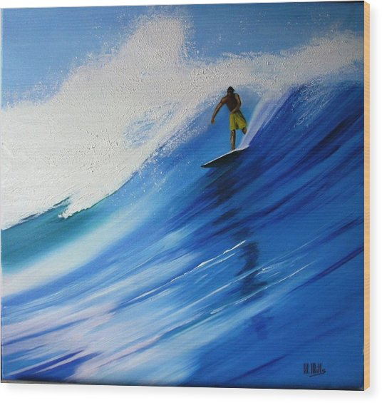 Surfer Wood Print