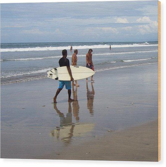 Surfer Reflection Wood Print by Jack Adams