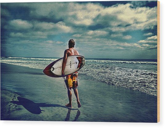Surfer Walking The Beach Wood Print by James David Phenicie
