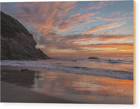 Surfers And Sunset At Strands Beach Dana Point Wood Print
