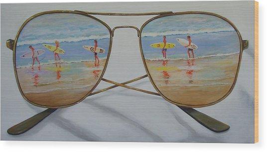 Surfers Wood Print by Brenda Gordon