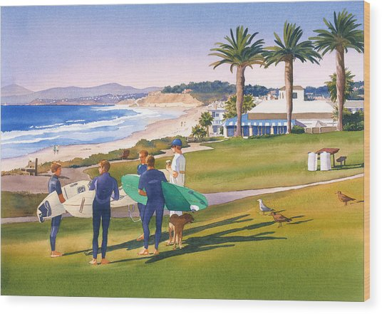 Surfers Gathering At Del Mar Beach Wood Print