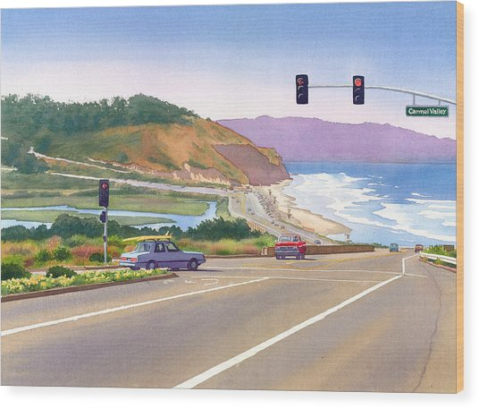 Surfers On Pch At Torrey Pines Wood Print