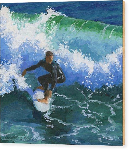 Surfin' Huntington Beach Pier Wood Print
